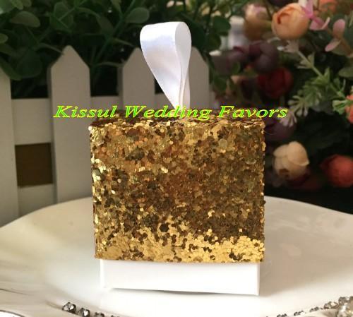 / Lote brilho e brilho Silver Glitter caixa favor para ouro e prata casamento favores e caixas de presente Bridal Party frete grátis