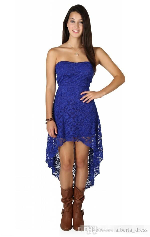 Cheap High Quality Royal Blue High Low Prom Dresses Vintage Sexy Black Lace Cheap Strapless Bridesmaid Dress for Country Party