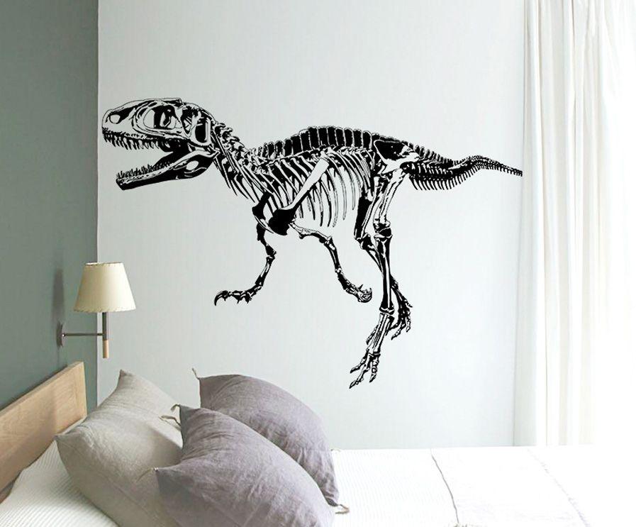 Black Creative Dinosaur Skeleton Wall Stick, Dinosaurs Wall Stickers Living Room Bedroom Adornment For Kids Boy Room HOME Decor