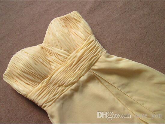 Kurze Chiffon Gelb Brautjungfernkleider Günstige Schatz Sleevelesss Geraffte Trauzeugin Party Kleider Vestido de Bridal