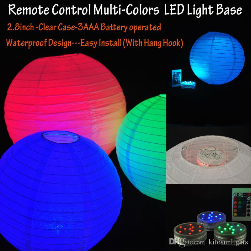 Factory Direct Sale 3AAA Battery Operated RGB Color-change Remote Controlled Submersible LED Round Light Base For Wedding Party Events