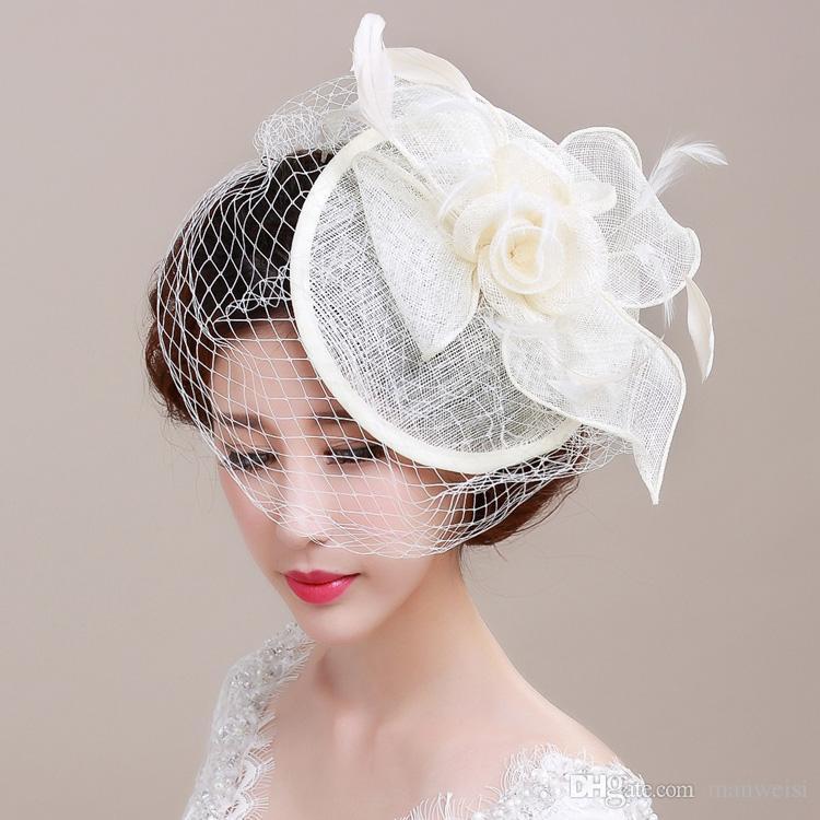 Moda fiore cappello da sposa diademi pezzi di testa fasce da sposa in cotone veli uccelli da gabbia Jannie Baltzer accessori capelli da sposa