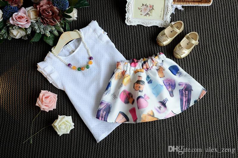 2016 Korean Style Girls Pretty Colorful Perfume Bottle Printed Princess Outfit Sleeveless T-shirt And A-line Skirt with necklace Set