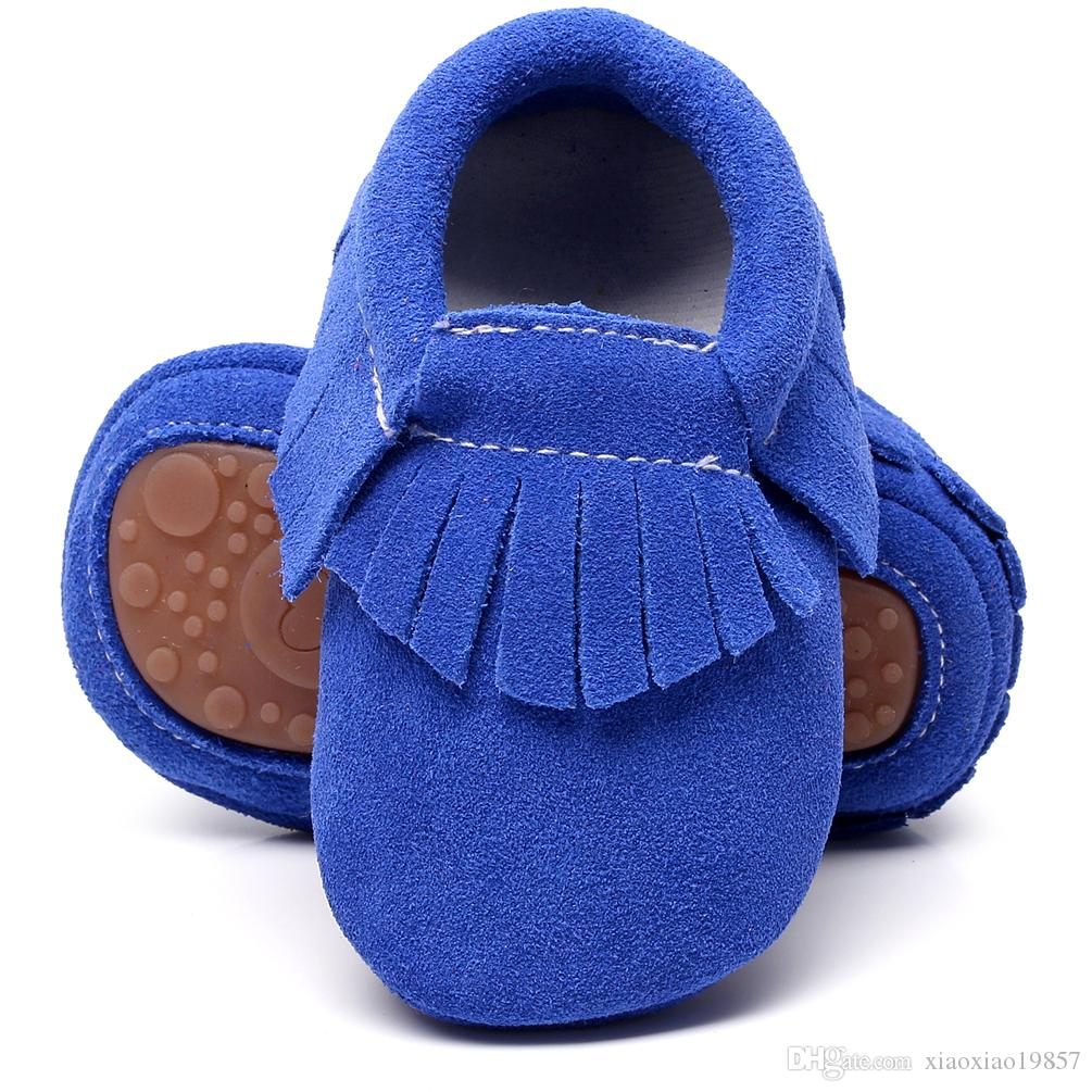 New 100% Genuine leather Suede Baby Moccasins With Fur hard Rubber Soles bottom kids Boots Winter Baby Shoes For Boys And Girls