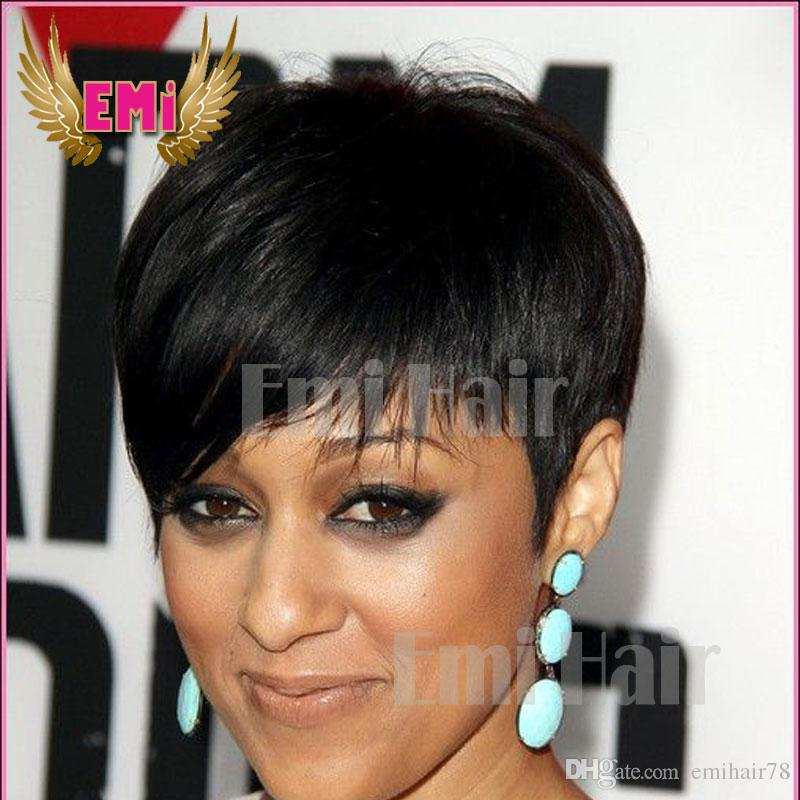 Brazilian Rihanna Human Hair Wigs Cut Cheap Black Short