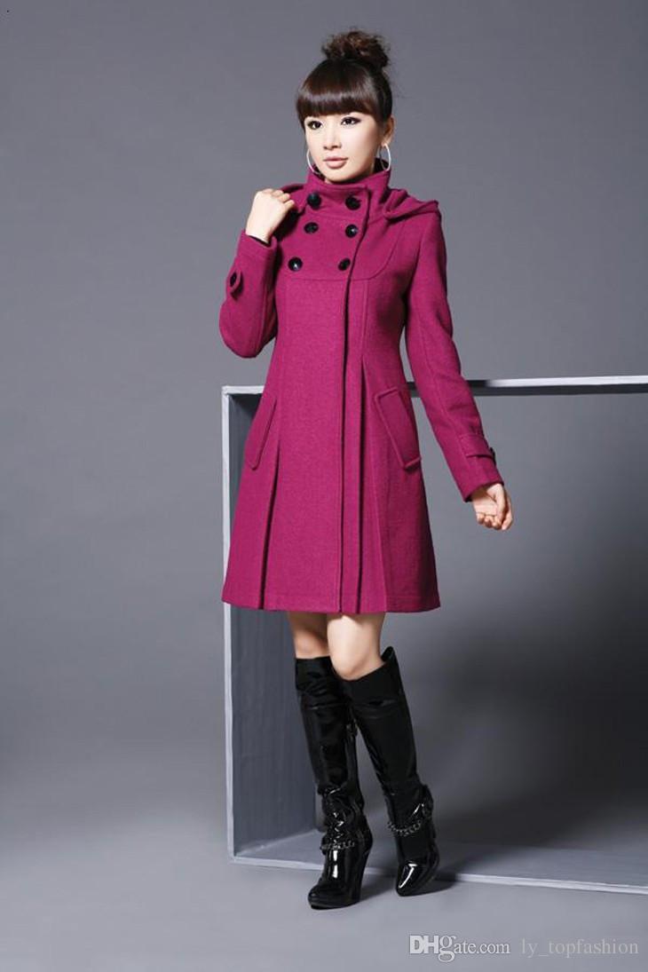 Frauen Herbst Winter Solid Coat mit abnehmbarem Hut Damen Large Size Hooded Wollmischungen Mäntel Schwarz Rot Grau XS XXXL XL