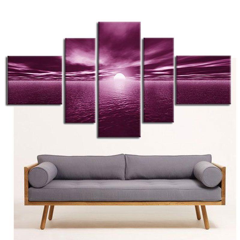Sunrise Morning Light Sea Oil Paintings Five Panel Canvas Art Oil Spray Paintings for Home Decor