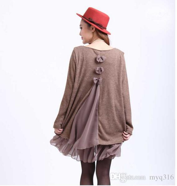 Maikun korean style plus size dress for women long sleeve chiffon dress