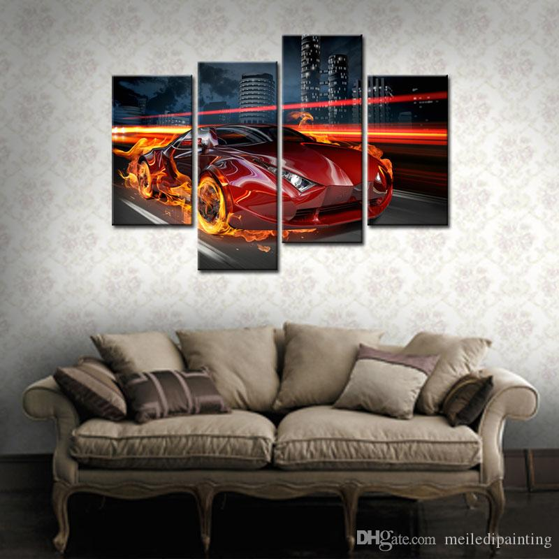 Amosi Art-Fire Red Car Running Arcoss City Building Paintings Prints Canvas Prints Picture For Home Decoration with Wooden Framed