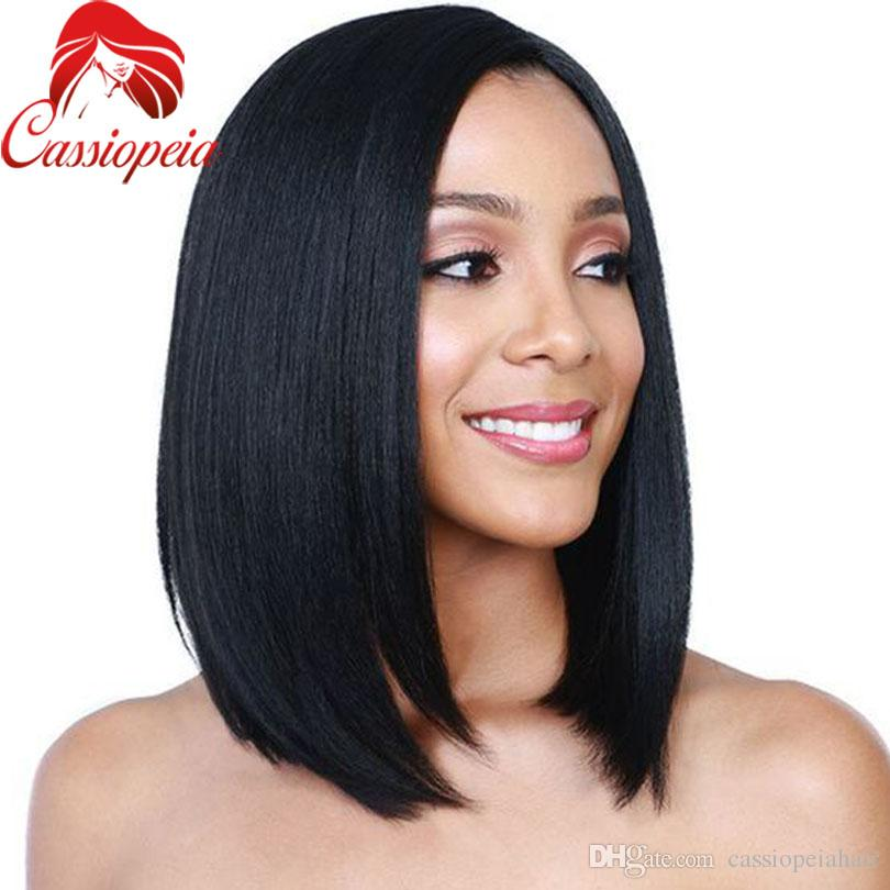 Middle Part Bob Human Hair Wigs Glueless Peruvian Virgin Hair Bob Lace Front Wigs For Black Women Large Stock
