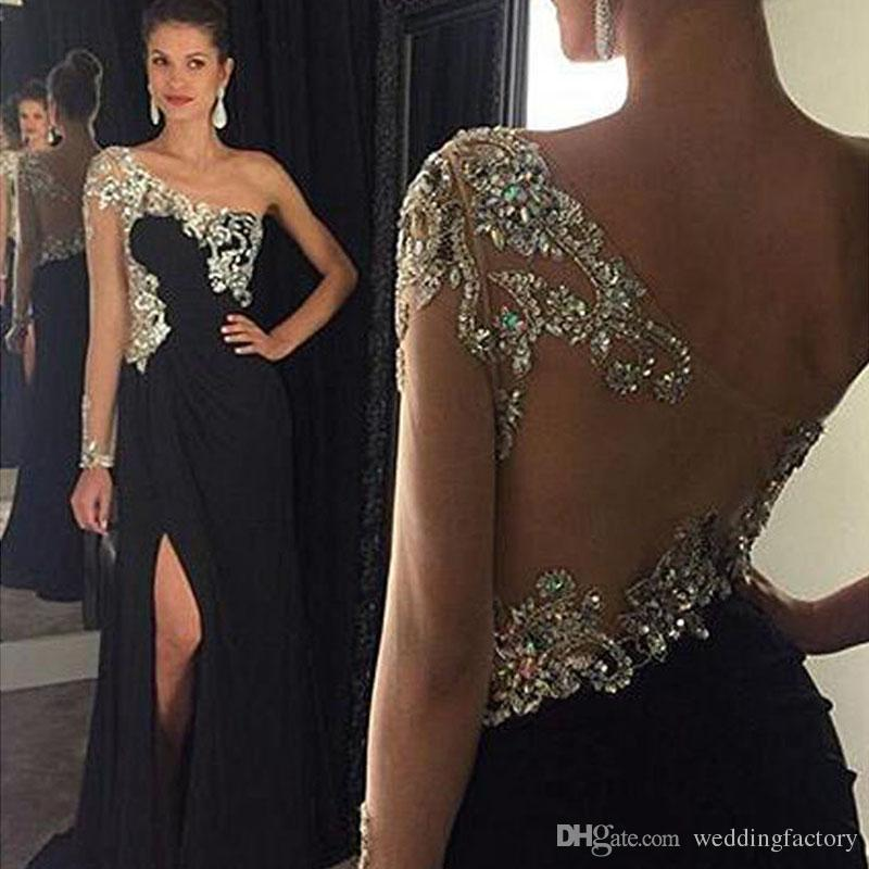 fab8025bc05 Sparkly Black Prom Dress One Shoulder Single Sleeve Illusion Crystals Beads  Chiffon Evening Party Gowns With Split Sweep Train Second Hand Prom Dresses  ...