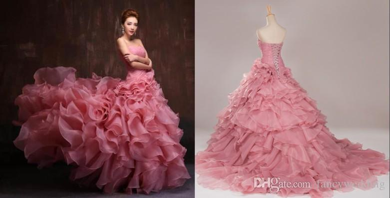 9f7def74fb8c Strapless Sweetheart Ruffles Sweep Train Lace Up Romantic Sexy Beautiful  Wedding Dresses Wedding Gown Black And White Wedding Dresses Cheap Cocktail  Dresses ...
