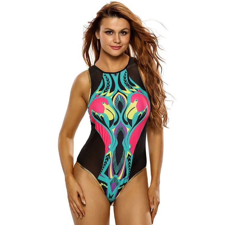 7a67a8ca1688c 2019 Flamingo Print Mesh Patchwork One Piece Swimsuits Back Zipper Bathing  Suits Sleeveless High Neck Swimwear Women Bikini Black From Jacky0818