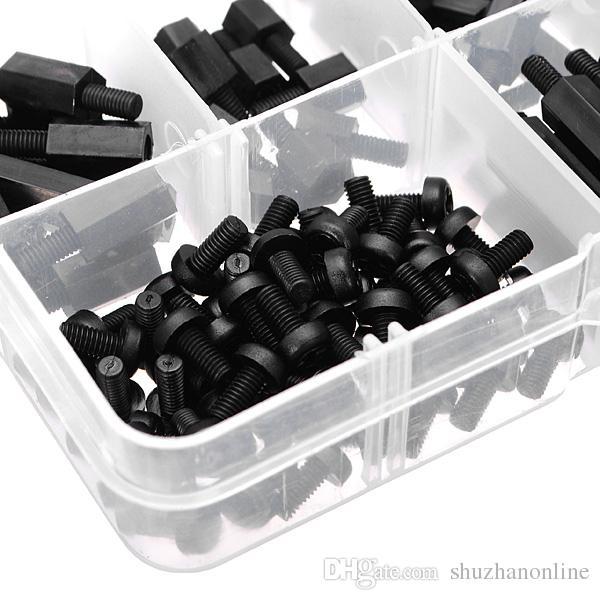 M3 Nylon negro M-F separadores hexagonales tornillo tuerca surtido kit