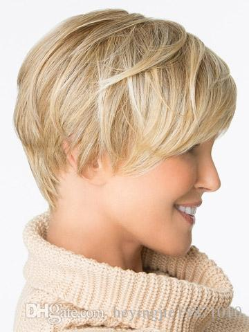 """Xiu Zhi Mei Fashion Highlights Heat Resistant synthetic fiber 6"""" Straight ombre hairstyle blonde short wigs for black women free ship"""