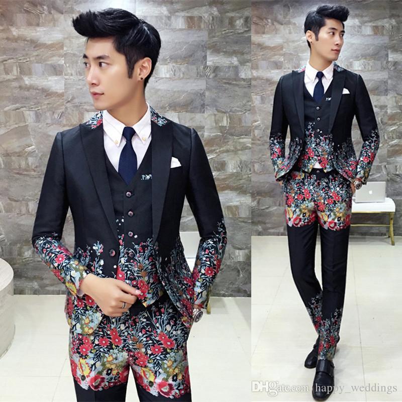 2018 Flower Suit Men 2017 New Fashion Designer Suit Luxury Wedding ...