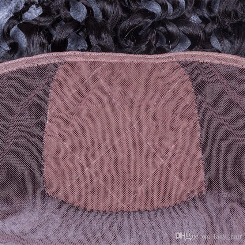 Virgin Malaysian Human Hair 4x4 Silk Base Lace Frontal Closure Deep Curly Silk Top 13x4 Ear to Ear Lace Frontal Pieces Bleached Knots