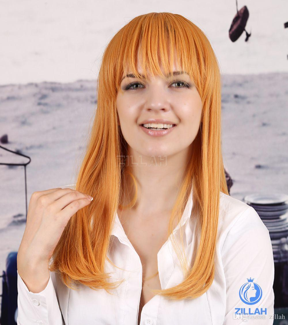 cheap new women cos anime color oblique bangs blonde wigs women