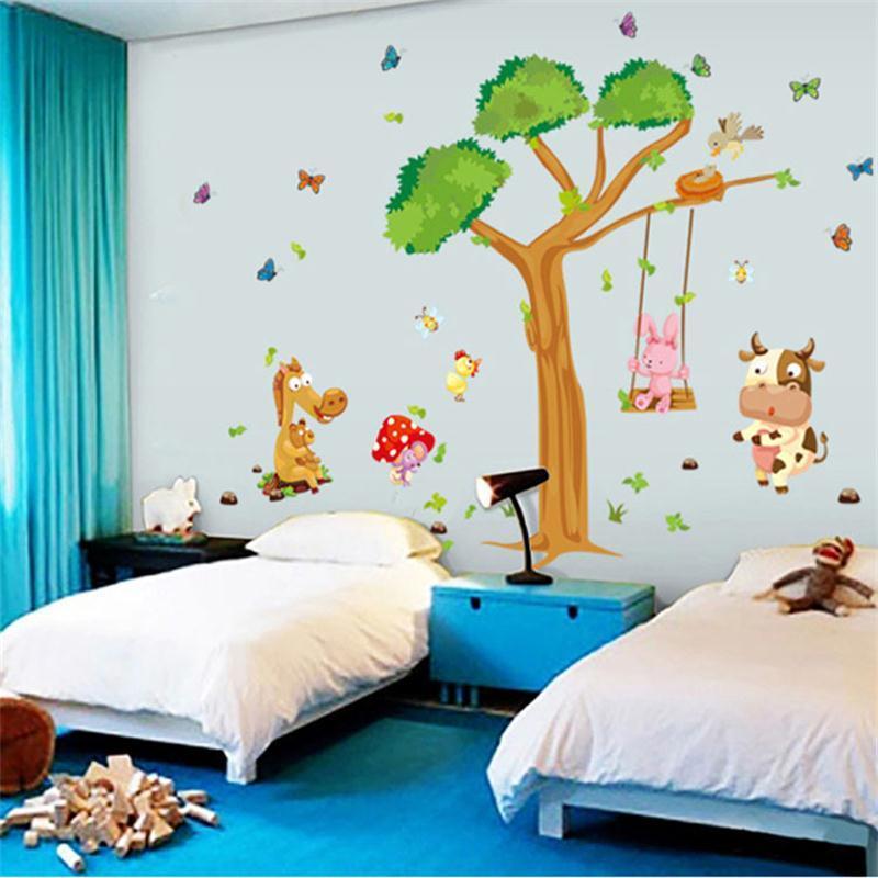 Ay236 Large Tree Animal Zoo Horse Butterfly Cartoon Kids Room Decor Art Baby Bedroom Wall