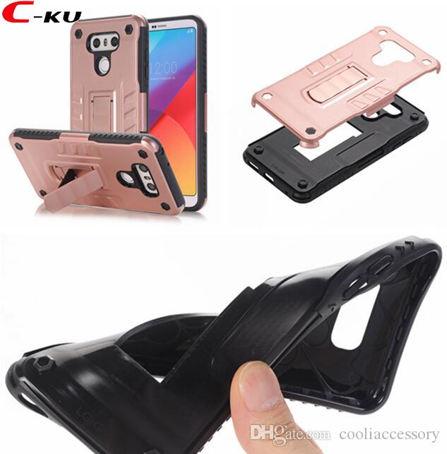 Hybrid Armor Silicone gel Hard PC Case For LG G6 LV3 K8 2017 Stylus 3 Stylo Shockproof Durable Combo Stand Cell Phone Skin Cover Luxury