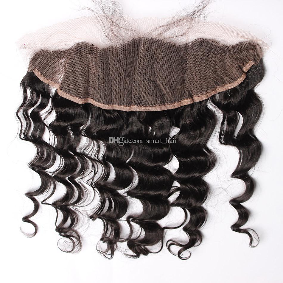느슨한 웨이브 귀 귀에 전체 레이스 Frontals 표백 된 매듭 9A 브라질 느슨한 곱슬 인간의 머리카락 레이스 정면 흑인 여성을위한
