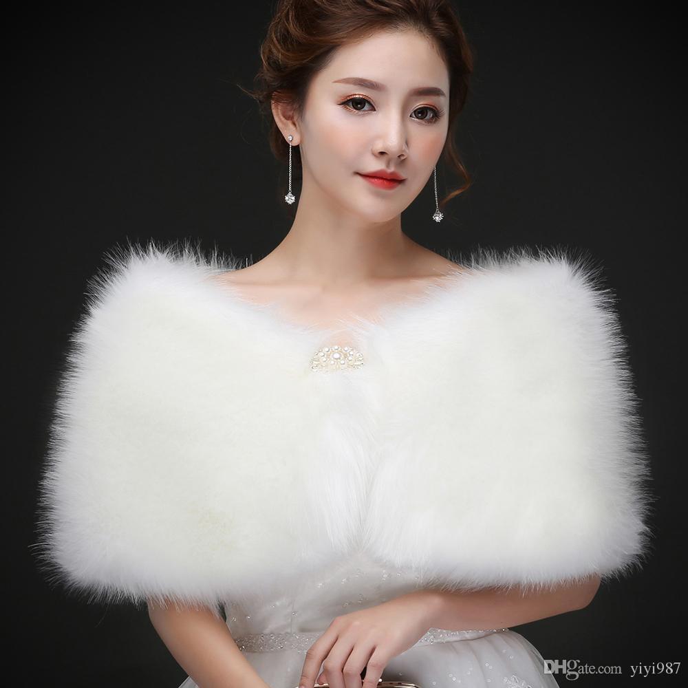 Real photos White Faux Fur Wedding Jacket Warm Bridal Bolero Wedding Jacket Coat Bridal Wraps Wedding Cape Cloak