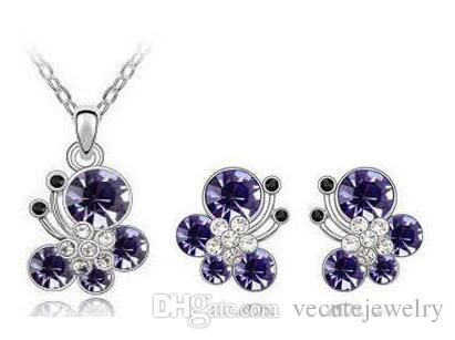 New Fashion 18K White Gold Plated Princess Butterfly Crystal Necklace Earrings Made With Swarovski Elements for Women Wedding Jewelry Sets