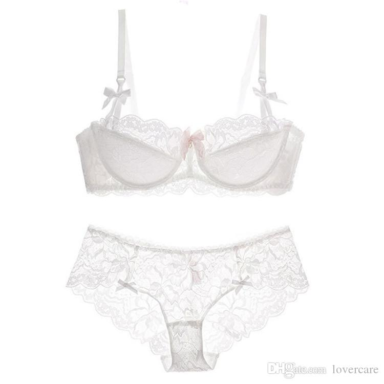 Girl students sexy lace underwear bra set gray large size half cup bra thin section together 8 size