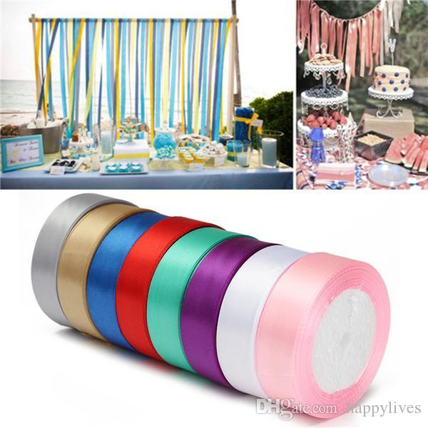 Grosshandel Silk Satin Ribbon 20mm 22 Meter Hochzeit Festliche