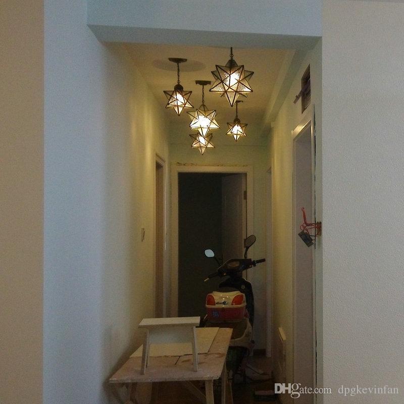 Discount Industrial Vintage Glass Monrovian Moravian Star Ceiling Pendant Light fixtures for Kitchen Bar