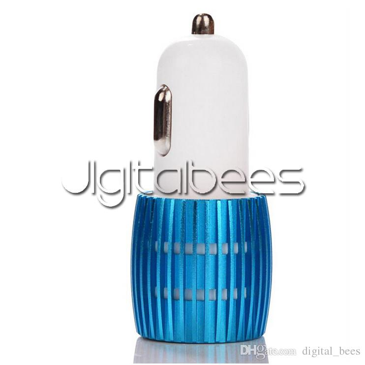 Colorful Led Car Charger 2 ports Cigarette Port 5v 2.1A Micro auto power Adapter Dual USB for Phone 7 plus samsung s7