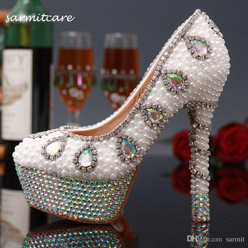 W021 Stick Full Pearl With Shinning Rhinestones Covered High Heels White  Beige Rhinestone Wedding Shoes Bridal Shoes White Heels Online Bridal Store  Payless ... 74c7bfcc9e82