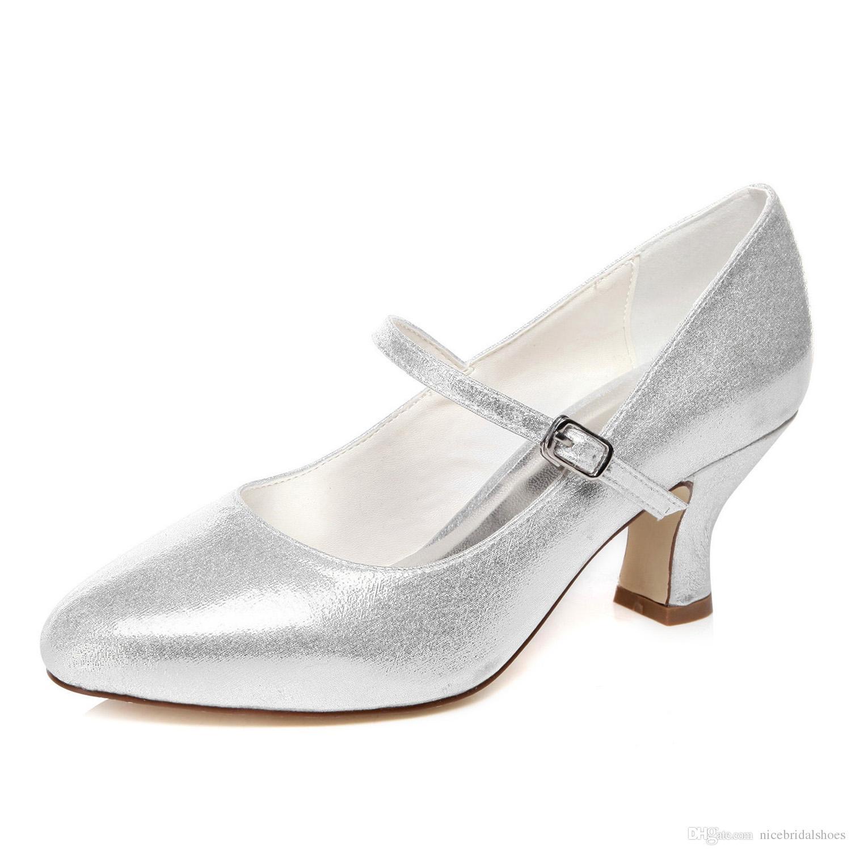 Bridal Shoes Wide Feet: Shinny Silver Color Plain Lace Pump Wider Feet Elegance