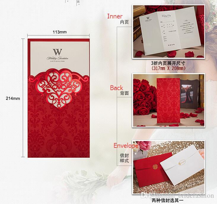 Cartões de convites de casamento de corte a laser vermelho roxo ouro oco personalizado Cartão de convite de Noivado de impressão livre com envelopes