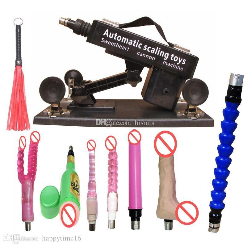 Set di pistole automatiche a buon mercato con Big Dildo e Tazza di Vagina, pistola di pompaggio a velocità regolabile, prodotti di giocattoli uomini e donne