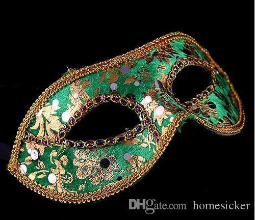 moitié du Visage Masque Halloween mascarade masque mâle, Venise, Italie, à tête plate dentelle lumineux tissu masques
