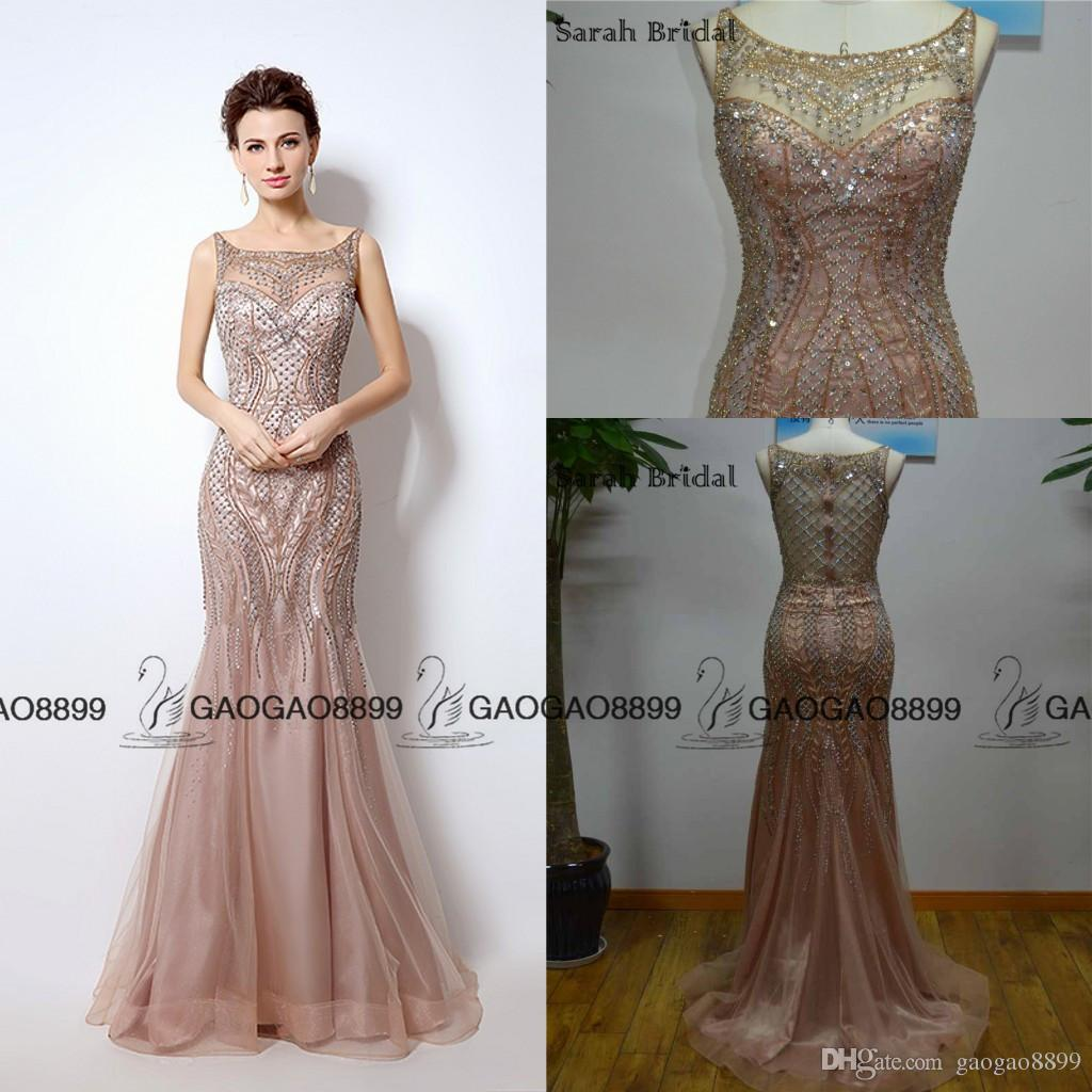 3c3244dcdf Great Gatsby Vintage Blush Luxury Beaded Mermaid Evening Dresses Wear  Yousef Aljasmi Sheer Neck Cap Sleeve Arabic Prom Formal Gowns Designer Dress  Sale ...