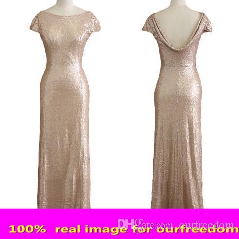 Echte sparkly rose goud goedkope zeemeermin bruidsmeisje jurken 2019 korte mouw pailletten backless lange strand bruiloft jurken gouden champagne