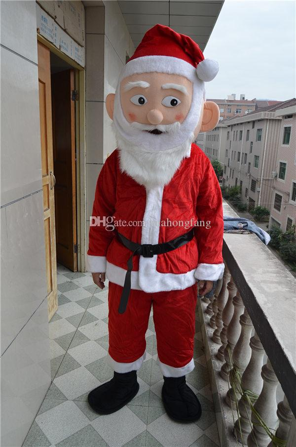 New Christmas Santa Claus Costumes Set full body suit Mascot Costume with White Beard Christmas Costume Factory salecs