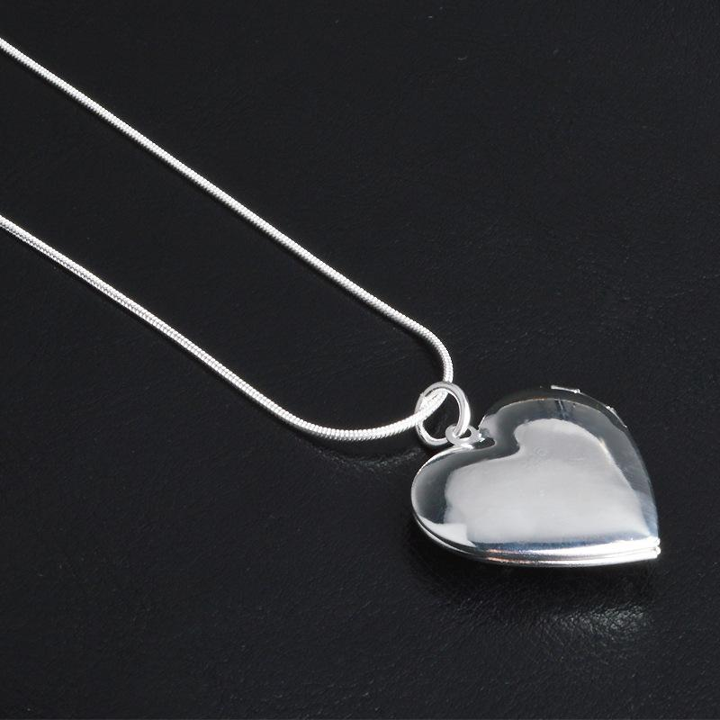 925 Sterling Silver Pendant High Quality Floating Locket Necklaces Fashion Women Jewelry Photo box Rose flower Heart Shaped Pendants