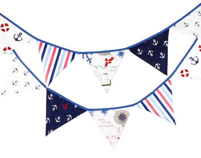 Мода горячие 12 флаги 3.2 м пиратская тема хлопчатобумажная ткань овсянка Вымпел флаги баннер гирлянда Свадьба/День рождения/Душа ребенка украшения партии