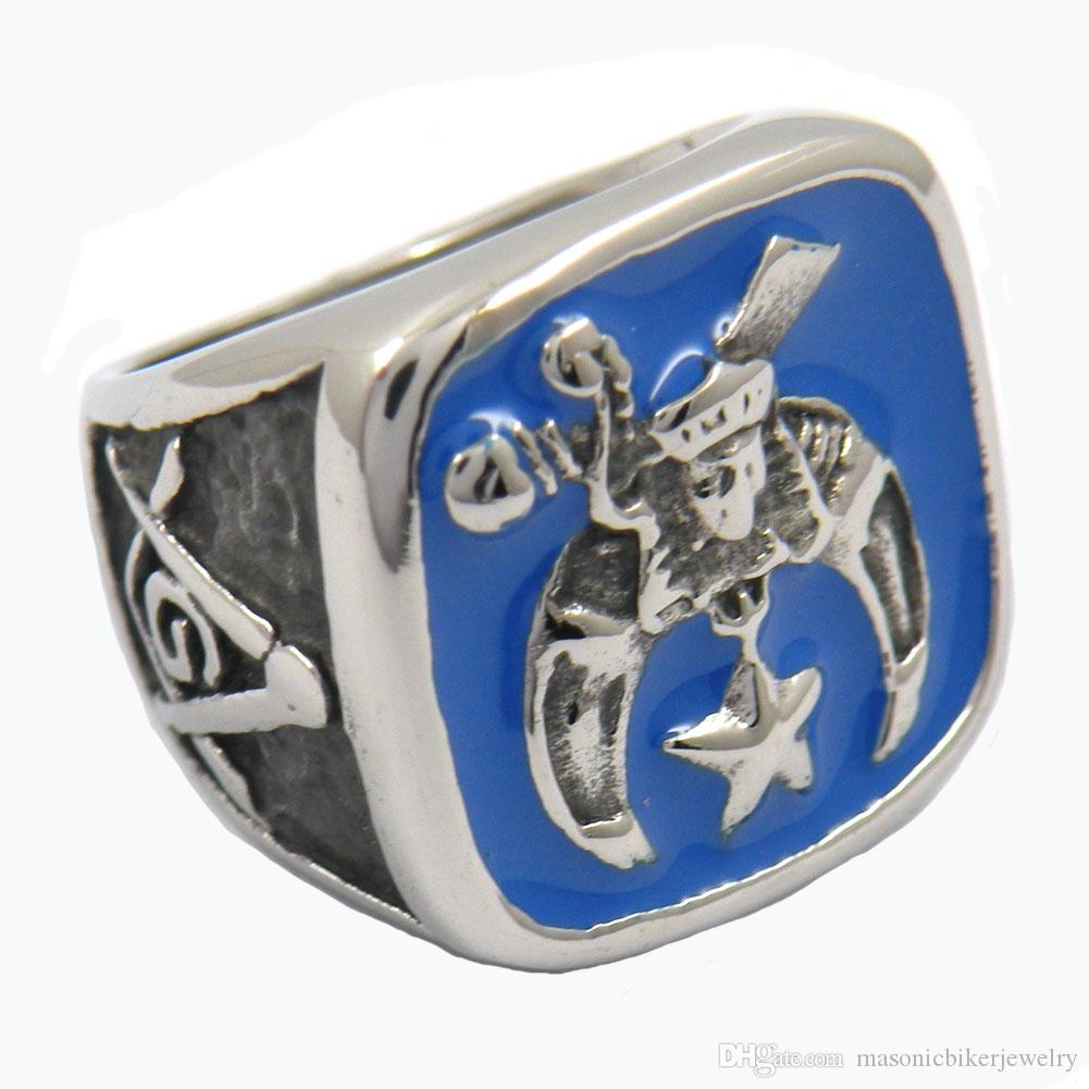 custom made ring stainless steel jewelry freemasonry knife star moon square  ruler SHRINER MASONIC RING gift for brothers sisters 11W39BL