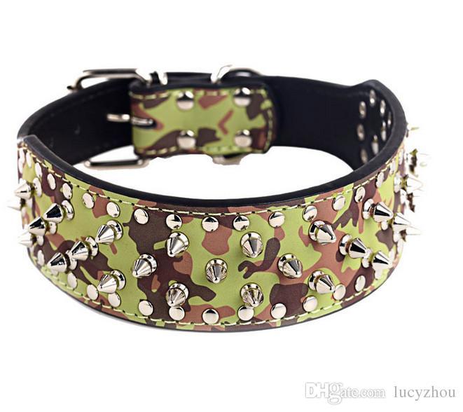 Hot-sale 5 UNIDS Spiked Tachonado Collar de Perro de LA PU Pitbull Boxer Mastiff Encantador Collar de Pet Pet Pet Mezcla orden