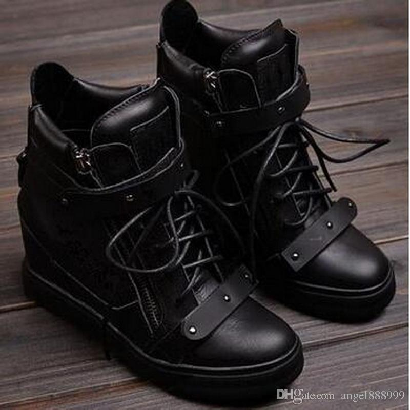 2016 Fashion New Brand High Top Wedges Sneakers Women Boots Within the higher High-top Shoes Lace Double Iron Sheet Metal Boots Black Shoes