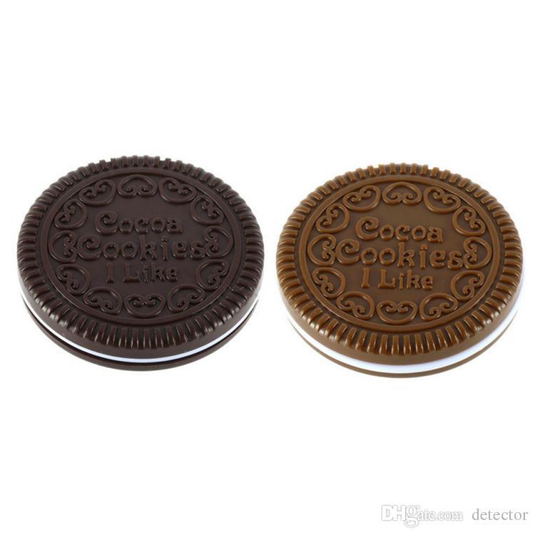 Chocolate sanduíche biscoito espelho de maquilhagem espelho de chocolate portátil Brown Plastic Chocolate Cookies Maquiagem Ferramentas Rosto Compacto Espelho Pente
