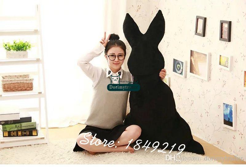 Dorimytrader 59'' / 150cm Large Plush Stuffed Cartoon Sketch Rabbit Toy Big Back Bunny Doll Pillow Nice Baby Gift DY61192