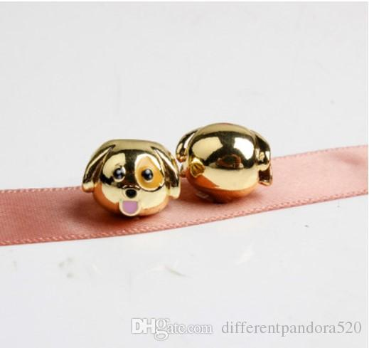 New Smiling Emoji Gold-plated Beads Dog Tongue Charms Fits Pandora Bracelets Big Hole Beads For Kids Christmas DIY European Necklace Jewelry