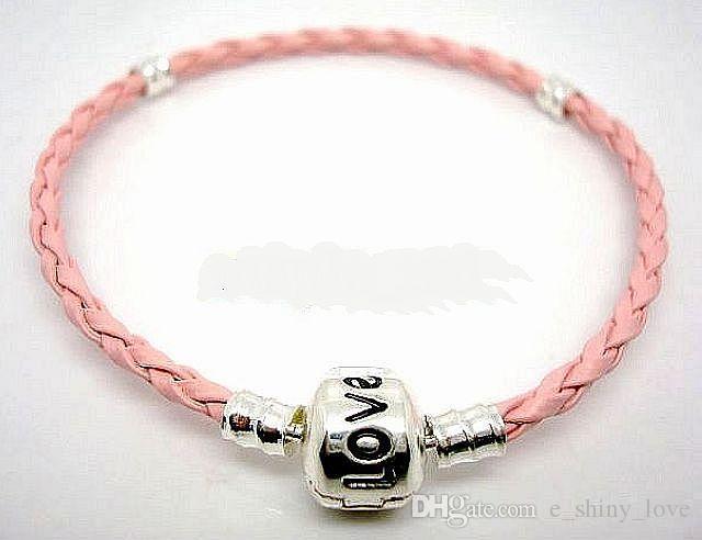 En gros Prix Bas / mélangé Cuivre Clip Plaque En Argent Estampillé En Amour En Cuir pu Bracelets Fit Européen Charme Perles 15 cm à 24 cm