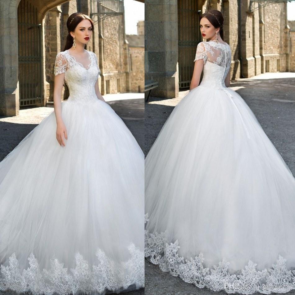 Catalog V Neck Ball Gown Wedding Dresses Lace Applique Short Sleeve ...