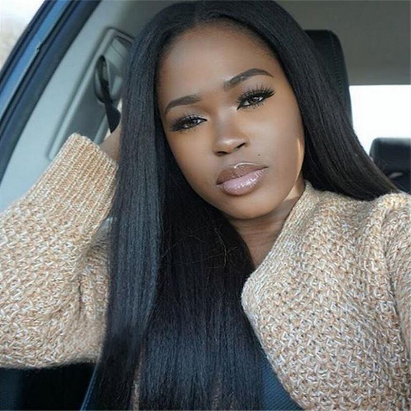Yaki Düz Tam Dantel Peruk Dantel Ön Peruk Işık Yaki Doğal Renk # 1B Kaba Yaki İnsan Saç Siyah Kadınlar Için Peruk